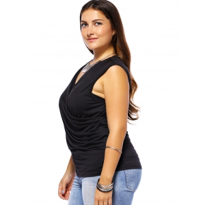 Plus Size Ruched Sleeveless Surplice T-Shirt -