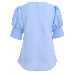 Brief Round Collar Puff Sleeve Solid Color Women's Blouse -