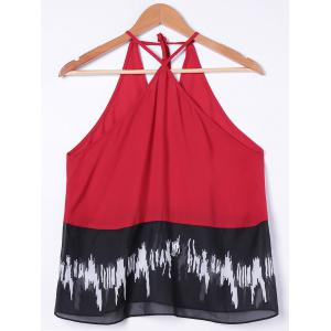V Strap Chiffon Tank Top - RED WITH BLACK L