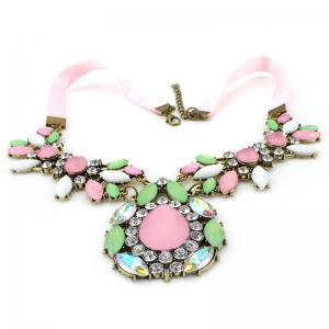 Gorgeous Diamante Colored Faux Gemstone Embellished Waterdrop Shape Pendant Necklace For Women - AS THE PICTURE