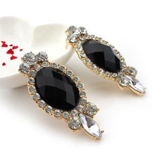 Faux Gemstone Diamante Earrings - BLACK