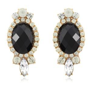 Faux Gemstone Diamante Earrings - Black - 6xl