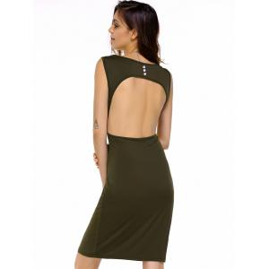Short Slit Plunge Open Back Club Dress - OLIVE GREEN L