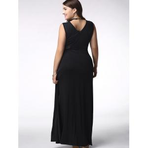 Stylish Sleeveless Plus Size Side Slit Voile Spliced Solid Color Women's Dress -