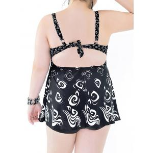 Stylish Plus Size Backless Print Two-Piece Swimsuit For Women - BLACK 7XL
