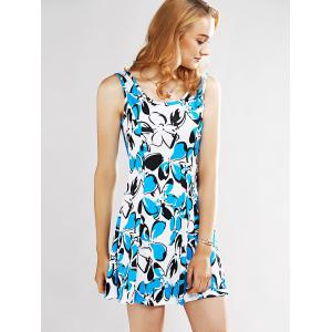 Graceful Women's Print Sleeveless Dress - LAKE BLUE L
