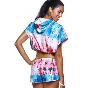 Chic Tie Dye Batwing Short Hoodie Crop Top and Dolphin Women's Twinset -