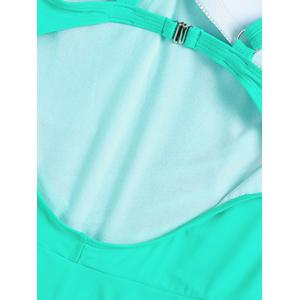Stylish Plus Size Ruched One-Piece Swimsuit For Women - LAKE GREEN 6XL
