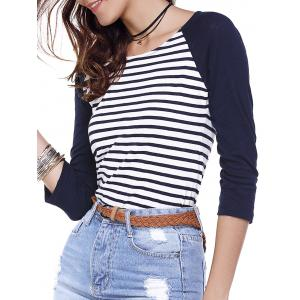 Striped Back Zippered Tee - White - Xs