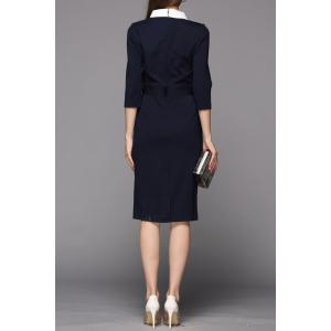 OL Style Contrast Collar Sheath Dress -