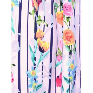 Fashionable Round Neck Sleeveless Flowers Print Dresses - STRIPE L