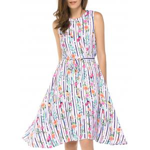 Fashionable Round Neck Sleeveless Flowers Print Dresses