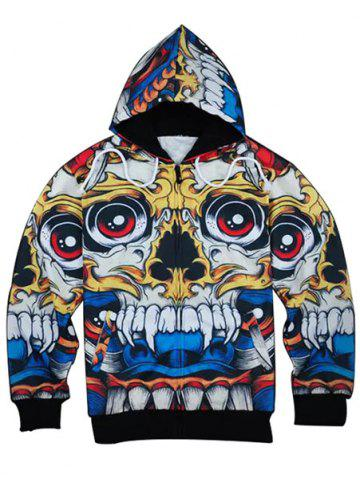 Outfits 3D Cartoon Skull Print Zip Up Hoodies COLORMIX M