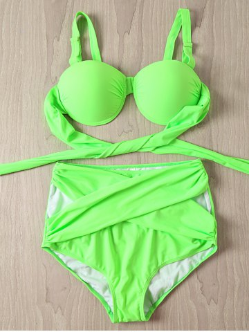 4XL NEON GREEN Solid Color Criss Cross High Waist Plus Size Swimwear Twinset