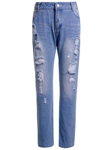 Fashion Casual High-Waisted Ripped Frayed Women's Ninth Jeans