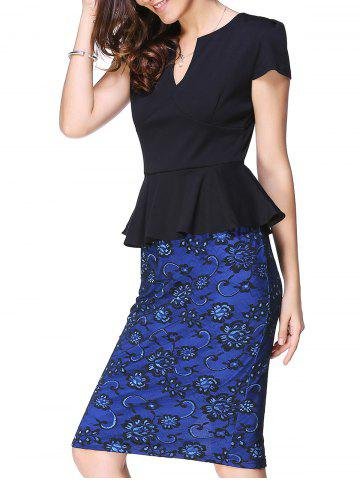 Discount Peplum Midi Sheath Dress BLUE AND BLACK L