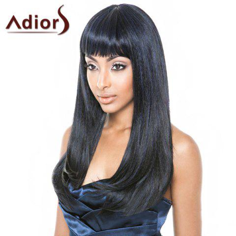 Fashion Black Mixed Blue Capless Straight Full Bang Synthetic Adiors Wig For Women - Blue And Black