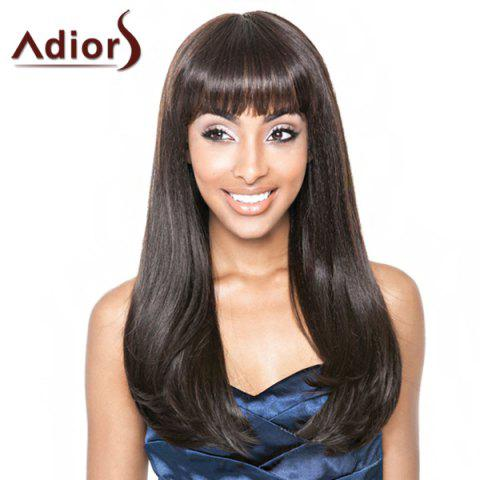 Stylish Straight Tail Adduction Synthetic Long Full Bang Dark Brown Adiors Wig For Women - Deep Brown