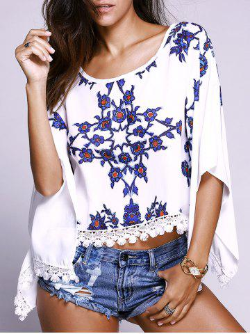 Outfit Batwing Sleeves Floral Pattern Lace Spliced Top