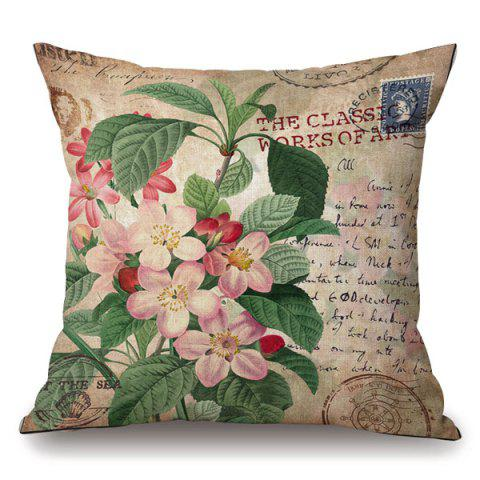 Outfit Retro Flower Stamp Letter Pattern Square Shape Pillowcase