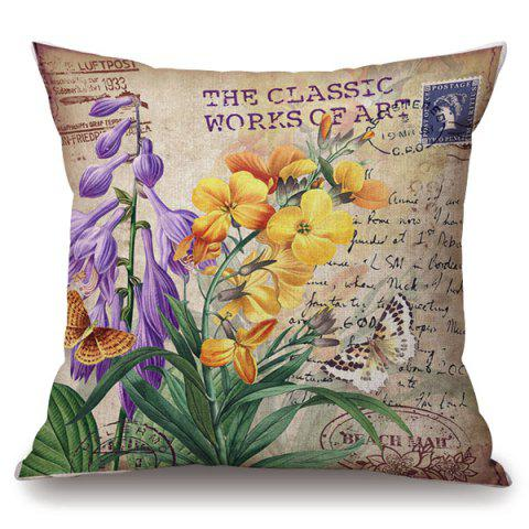 Online Retro Orchid Stamp Letter Pattern Square Shape Pillowcase