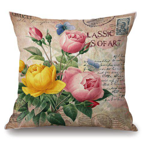 Latest Retro Peony Stamp Letter Floral Pattern Pillowcase