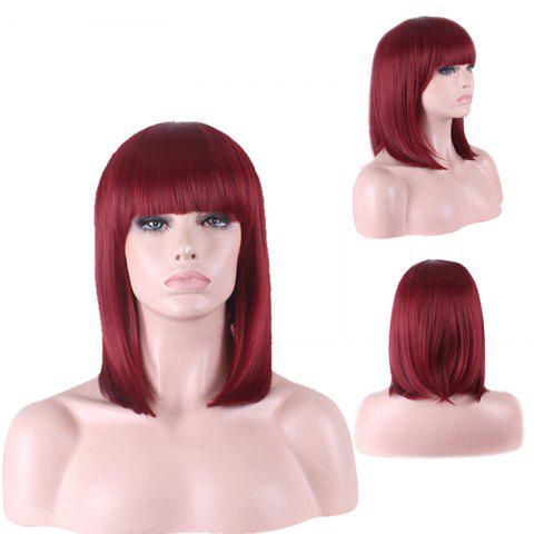 Best Stylish Straight Full Bang Medium Sythetic Cosplay Wig For Women - WINE RED  Mobile