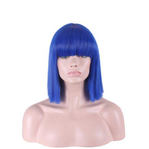 New Stylish Full Bang Straight Sythetic Cosplay Bob Wig For Women - BLUE  Mobile