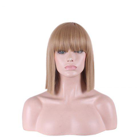 Trendy Fashion Full Bang Straight Sythetic Cosplay Bob Wig For Women - MAROON  Mobile