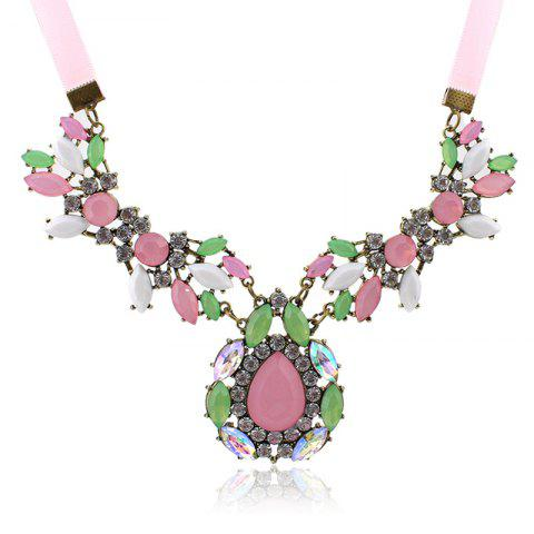 Latest Gorgeous Diamante Colored Faux Gemstone Embellished Waterdrop Shape Pendant Necklace For Women AS THE PICTURE