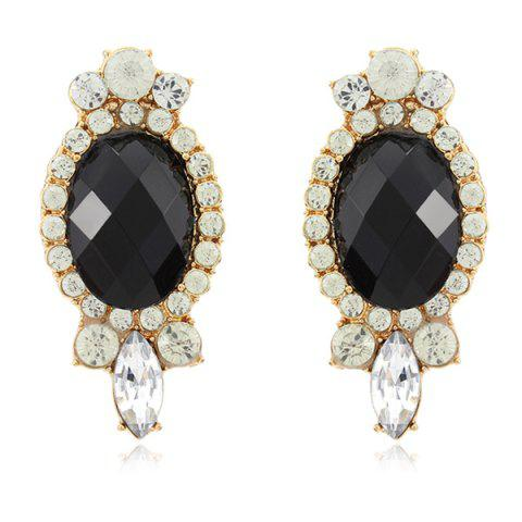 Affordable Faux Gemstone Diamante Earrings - BLACK  Mobile