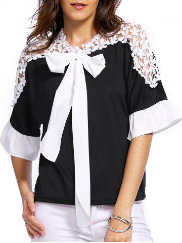 Store Sweet 3/4 Sleeve Bowknot Embellished Lace Splicing Blouse