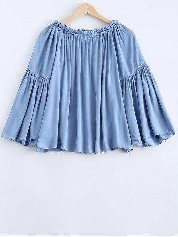 Cheap Off The Shoulder Loose Fitting Light Blue Blouse