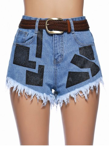 Discount Chic Women's Geometrical Raw Hem Denim Shorts