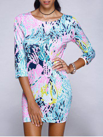 Best Trendy Scoop Neck Abstract Plant Print Mini Dress For Women