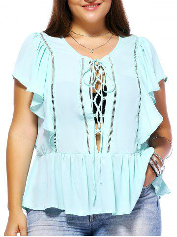 Latest Sweet Plus Size Criss Cross Hollow Out Women's Chiffon Blouse