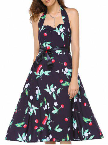 Outfits Retro Halter Sweetheart Neck Cherry Printed Dress For Women