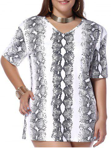 Trendy Plus Size Snakeskin Print V Neck T-shirt WHITE 5XL