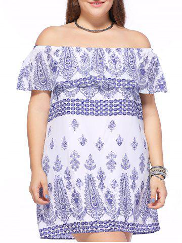 Affordable Casual Plus Size Vintage Pattern Off-The-Shoulder Women's Dress