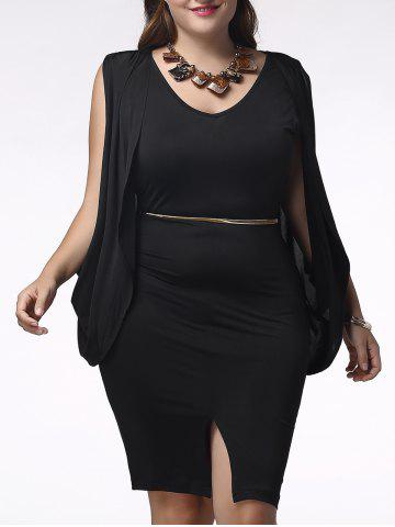 Hot Charming Sleeveless Cape Spliced Furcal Plus Size Pure Color Women's Dress