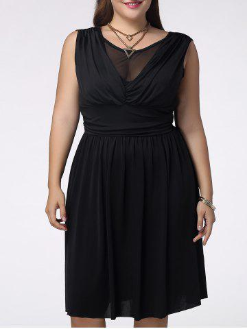 Sale Trendy Sleeveless Plus Size Pleated Voile Spliced Solid Color Women's Dress