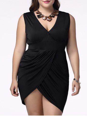 Cheap Charming Plunging Neck Sleeveless Plus Size Tulip Graphic Skinny Women's Dress