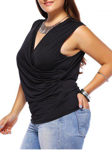 Best Plus Size Ruched Sleeveless Surplice T-Shirt
