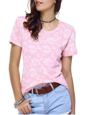 Shop Round Neck Print Relaxed T-Shirt PINK L