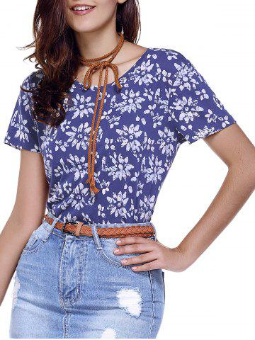Round Neck Print Relaxed T-Shirt - Blue - Xs