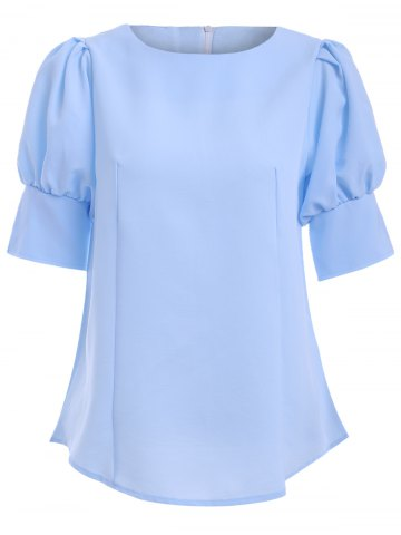 Best Brief Round Collar Puff Sleeve Solid Color Women's Blouse
