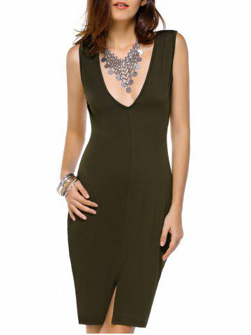 Best Short Slit Plunge Open Back Club Dress OLIVE GREEN L