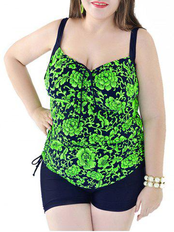 Plus Size Backless Floral Print Tankini Set - JADE GREEN 6XL