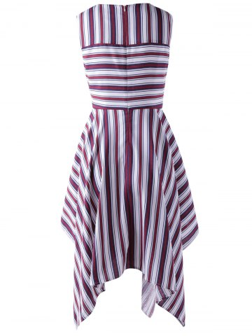 Online Fashionable Stripe Splicing Dress For Women - XL RED WITH WHITE Mobile