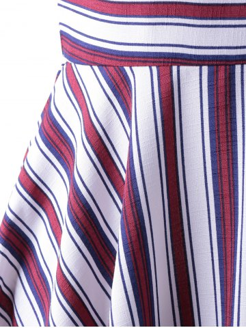 Shop Fashionable Stripe Splicing Dress For Women - XL RED WITH WHITE Mobile